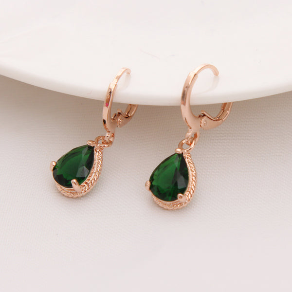 Water Drop CZ Stone Pierced Dangle Earrings - Boring Online Store