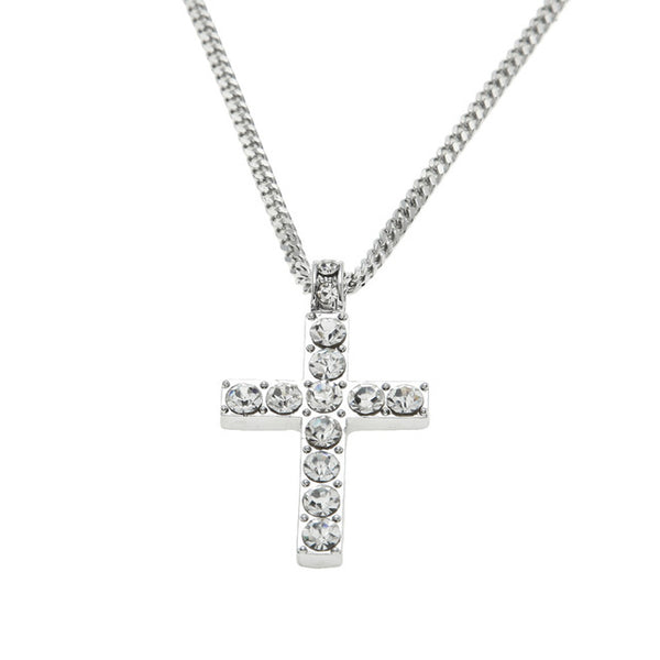 Hip Hop Alloy Gold Color Cross Pendant Necklace Religious Iced Out Rhinestone Crucfix Necklace Jewely For Men Free Cuban Chain - Boring Online Store