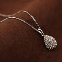 Silver/Gold Plated Crystal Teardrop Necklace - Boring Online Store