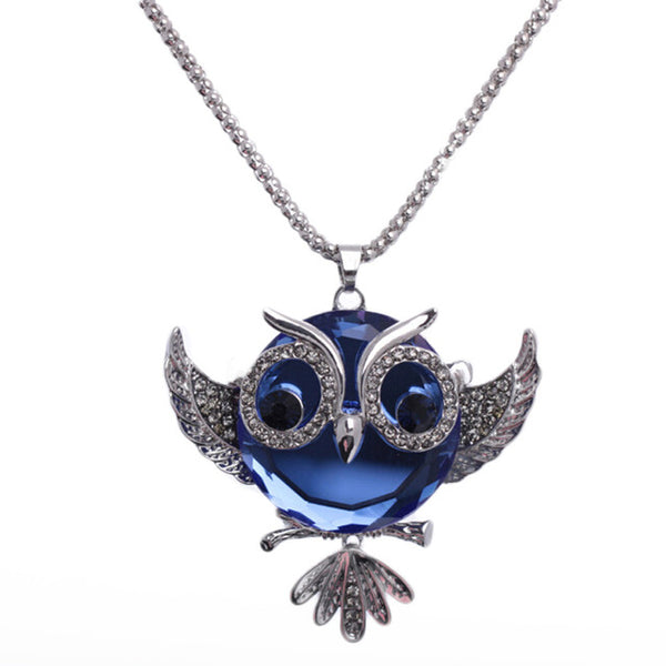 Blue Crystal Owl Necklace - Boring Online Store