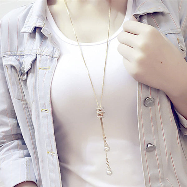 Pearl Crystal Long Necklace - Boring Online Store
