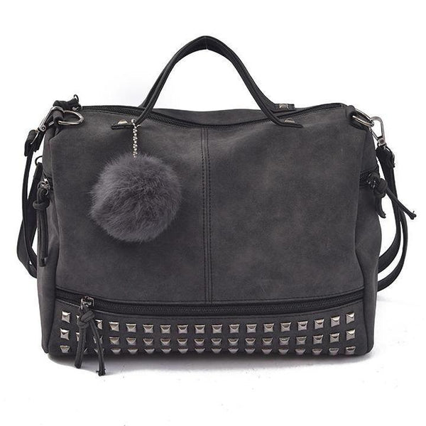 Stylish Hair Ball Handle Handbag - Boring Online Store