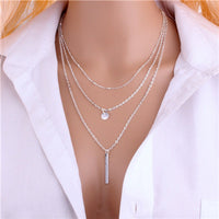 1pc New Hot Unique Charming Gold Tone Bar Circle Lariat Necklaces Women Multilayer Chain Necklaces Femme Party Jewelry - Boring Online Store