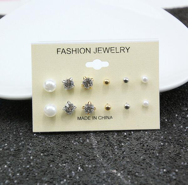 Pearl Stud Shiny Earrings - Boring Online Store