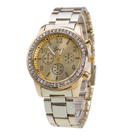 Gold Plated and CZ Encrusted Diamonds Wristwatch - Boring Online Store