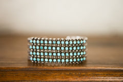 Turquoise and Silver--4 rows