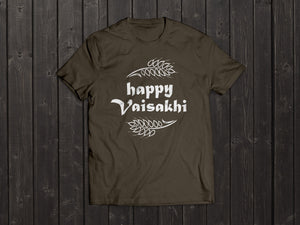 The  Tony Singh Happy Vaisakhi T Shirt in Khaki