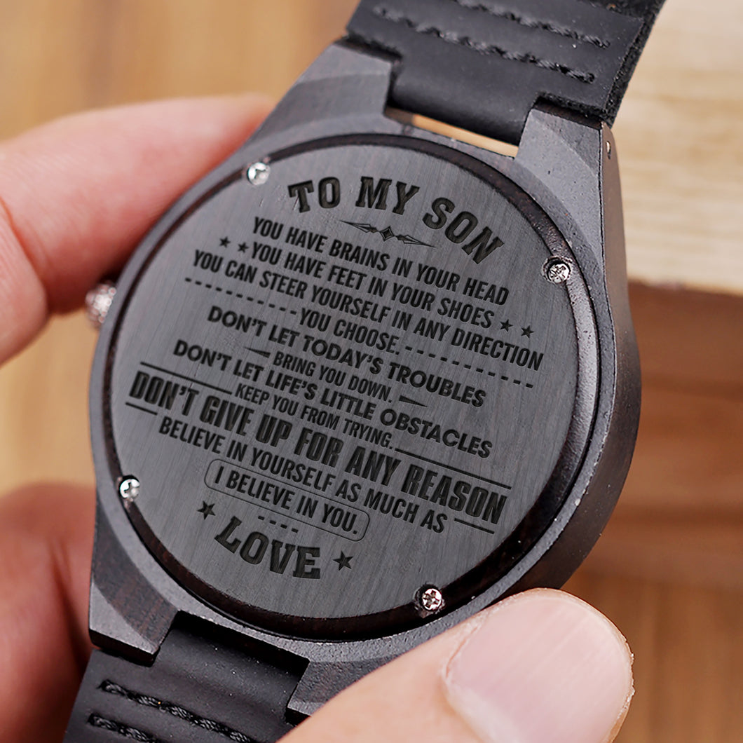 W1472 - I believe in you - From Mom To Son Engraved Wooden Watch