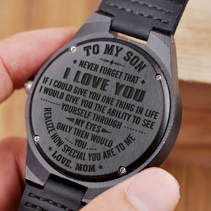 W1474 How special you are - From Mom To Son Engraved Wooden Watch