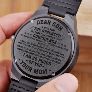W1477 - I wish you the strength - From Mom To Son Engraved Wooden Watch