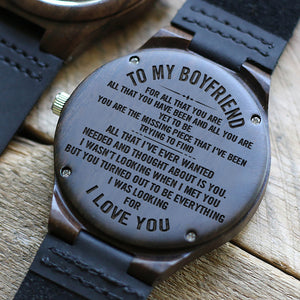 W1492 - You Are The Missing Piece - For Boyfriend Engraved Wooden Watch