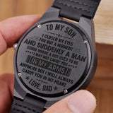 W1493 - Carring you in my heart - From Dad To Son Engraved Wooden Watch