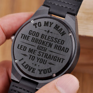 W1499 - Led me straight to you - For Husband  Engraved Wooden Watch