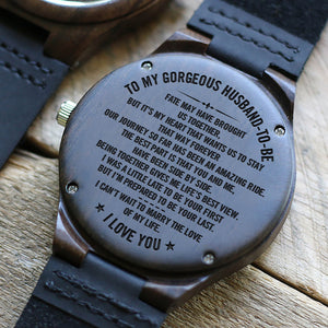 W1506 - Fate brought us together - For Fiancé Engraved Wooden Watch
