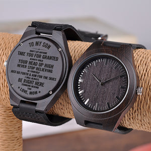 W1523 - I will be right here - From Mom To Son Engraved Wooden Watch