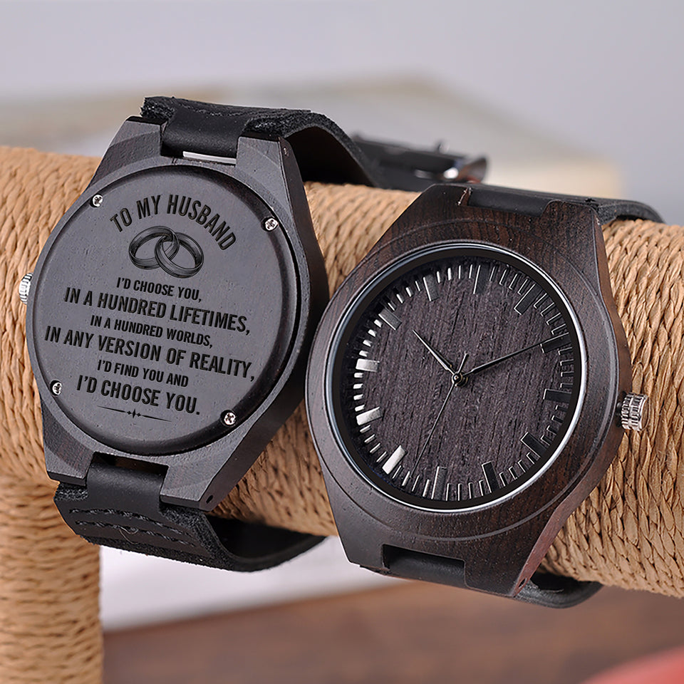 W1536 - In the hundred  - For Husband  Engraved Wooden Watch