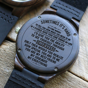 W1553 - Through my eyes  - For Husband  Engraved Wooden Watch
