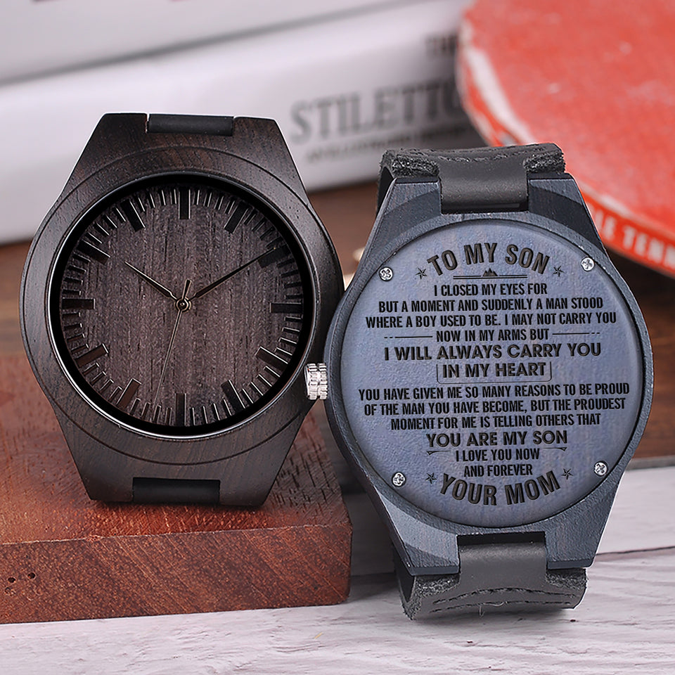 W1569 - My Son My Man - From Mom To Son Engraved Wooden Watch