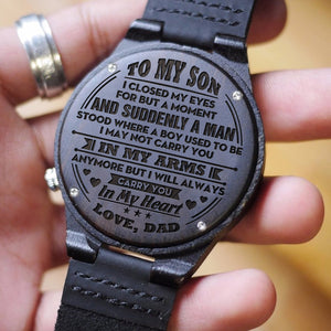 W1593 - Carry you in my heart - From Dad To Son Engraved Wooden Watch