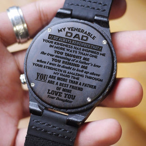 W1638 - How much you really care - From Daughter To Dad Engraved Wooden Watch