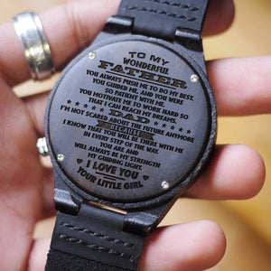 W1639 - To my wonderful father - From Daughter To Dad Engraved Wooden Watch