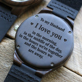 W1665 - For Husband Engraved Wooden Watch