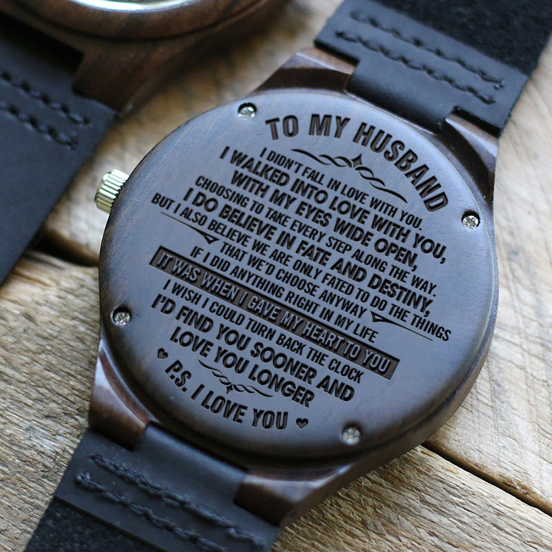 W1607 - I wish I could turn back the clock - For Husband Engraved Wooden Watch
