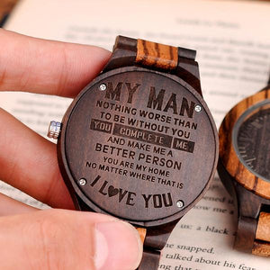 Y1531 - My Man You Complete Me - Wooden Watch