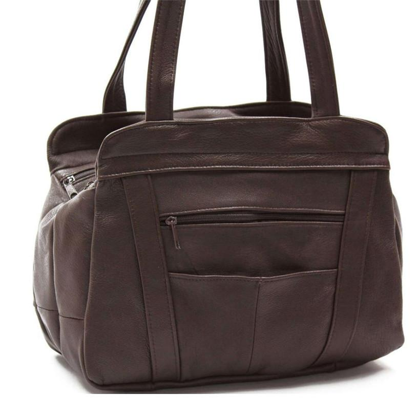 fb8b5ad427b5 3 Compartments Tote Leather Bag - Brown