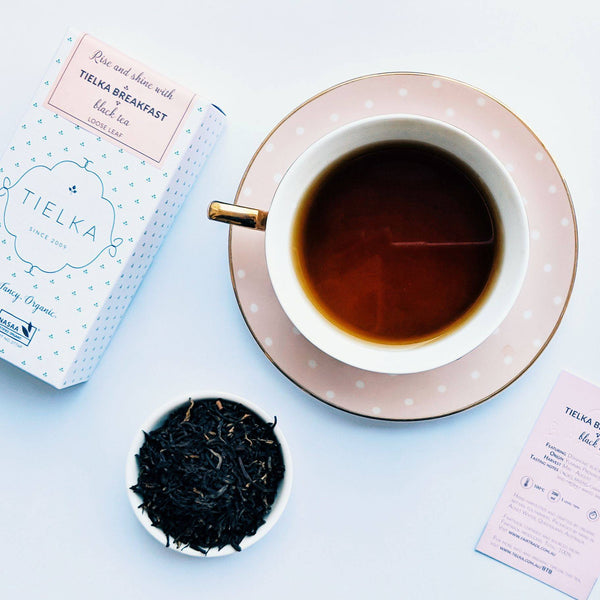 Serve Tielka's English Breakfast tea in fine china