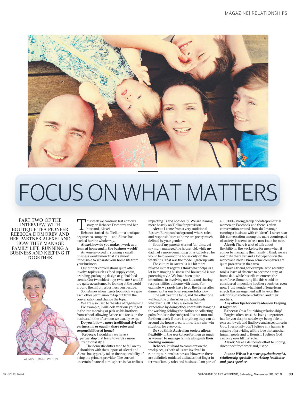 Tielka founders Rebecca and Alexei Domorev featured in Sunshine Coast Daily
