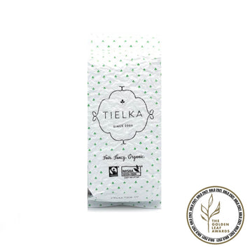 Fairtrade Organic Loose Leaf Rose Moscato Green Tea Foil Pouch by Tielka
