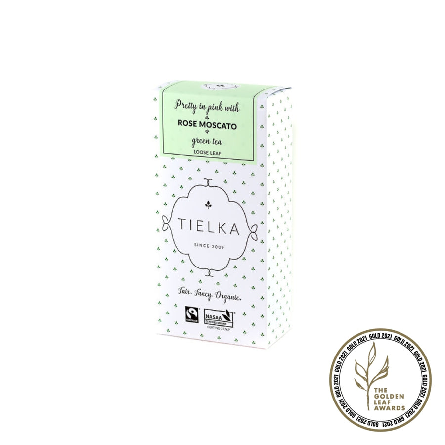 Fairtrade Organic Loose Leaf Rose Moscato Green Tea Box by Tielka