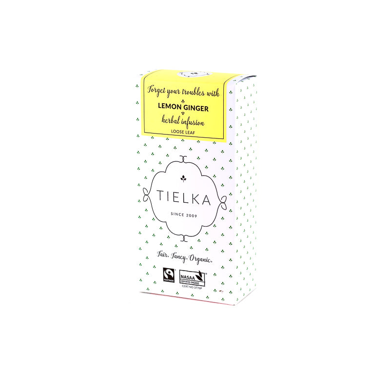 Fairtrade Organic Loose Leaf Lemon Ginger Herbal Infusion Box by Tielka