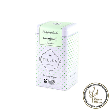Fairtrade Organic Loose Leaf Rose Moscato Green Tea Tin by Tielka