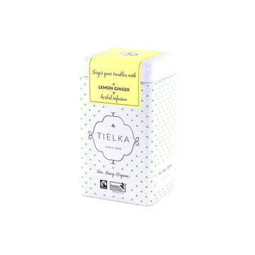 Fairtrade Organic Loose Leaf Lemon Ginger Herbal Infusion Tin by Tielka