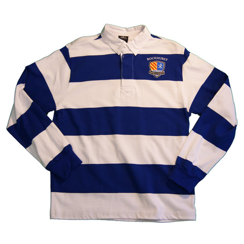 Long Sleeve Classic Rugby Shirt in Royal and White Stripe