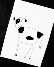 Load image into Gallery viewer, Black and White Cow Illustration Nursery Print