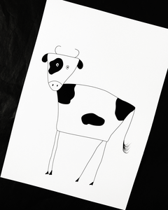 Black and White Cow Illustration Nursery Print