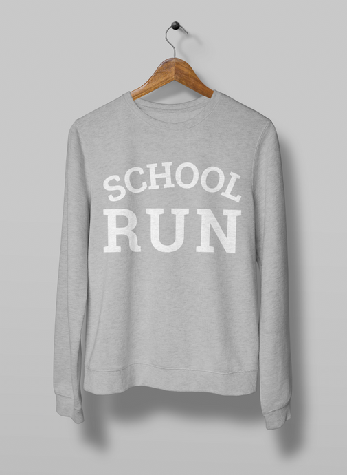 School run sweatshirt in heather grey on hanger screenprinted by the milk collective