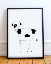 Load image into Gallery viewer, Framed black and white illustration of a cow.