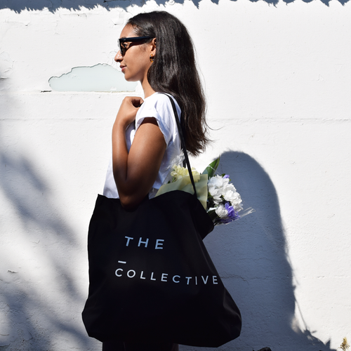 black canvas super shopper tote bag on model