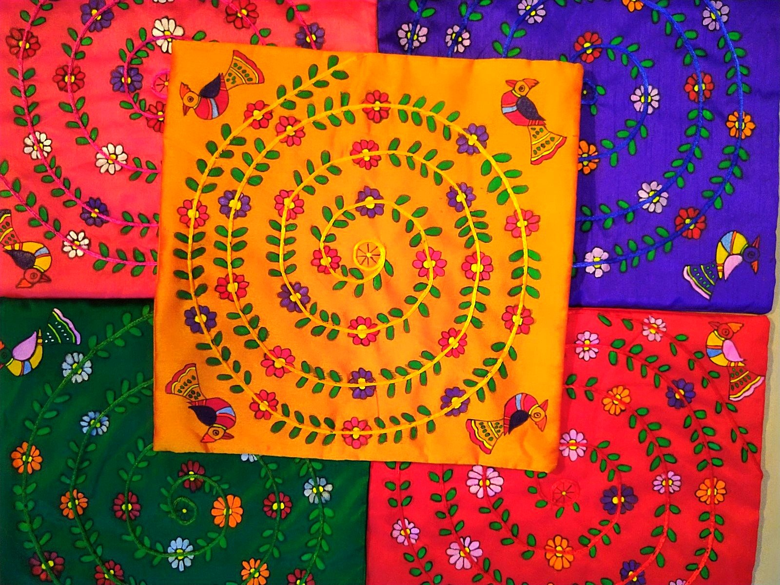 Cushion Cover - Floral Mithila Art