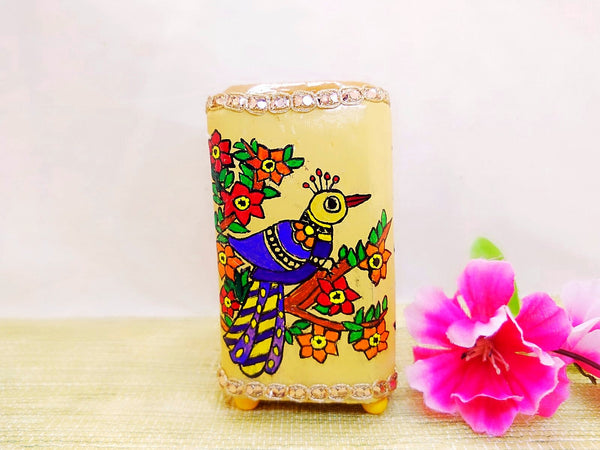 Pen Stand - Purple Bird Mithila Art - Ahaeli