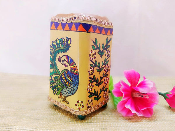 Pen Stand - Peacock Design Mithila Art