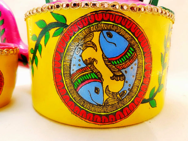 Kettle - Handpainted Fish Design Mithila Painting