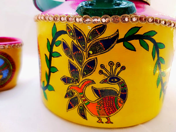 Kettle - Handpainted Fish Design Mithila Painting - Ahaeli