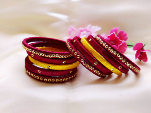 Silk Bangles - Maroon and Yellow - Ahaeli