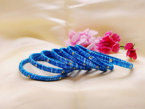 Silk Bangles - Blue and White - Ahaeli