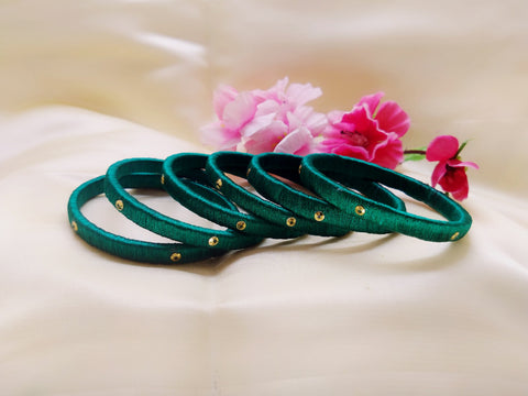 Silk Bangles - Peacock Green - Ahaeli